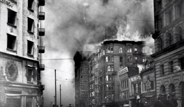Пожар в Сан-Франциско после землетрясения 18.04.1906 г