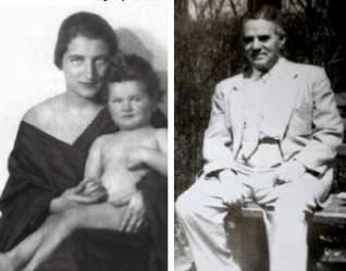 Слева - Эржебет Сорос с сыном Полом в возрасте 1 года (1927 г.), справа – Тивадар Сорос[15]
